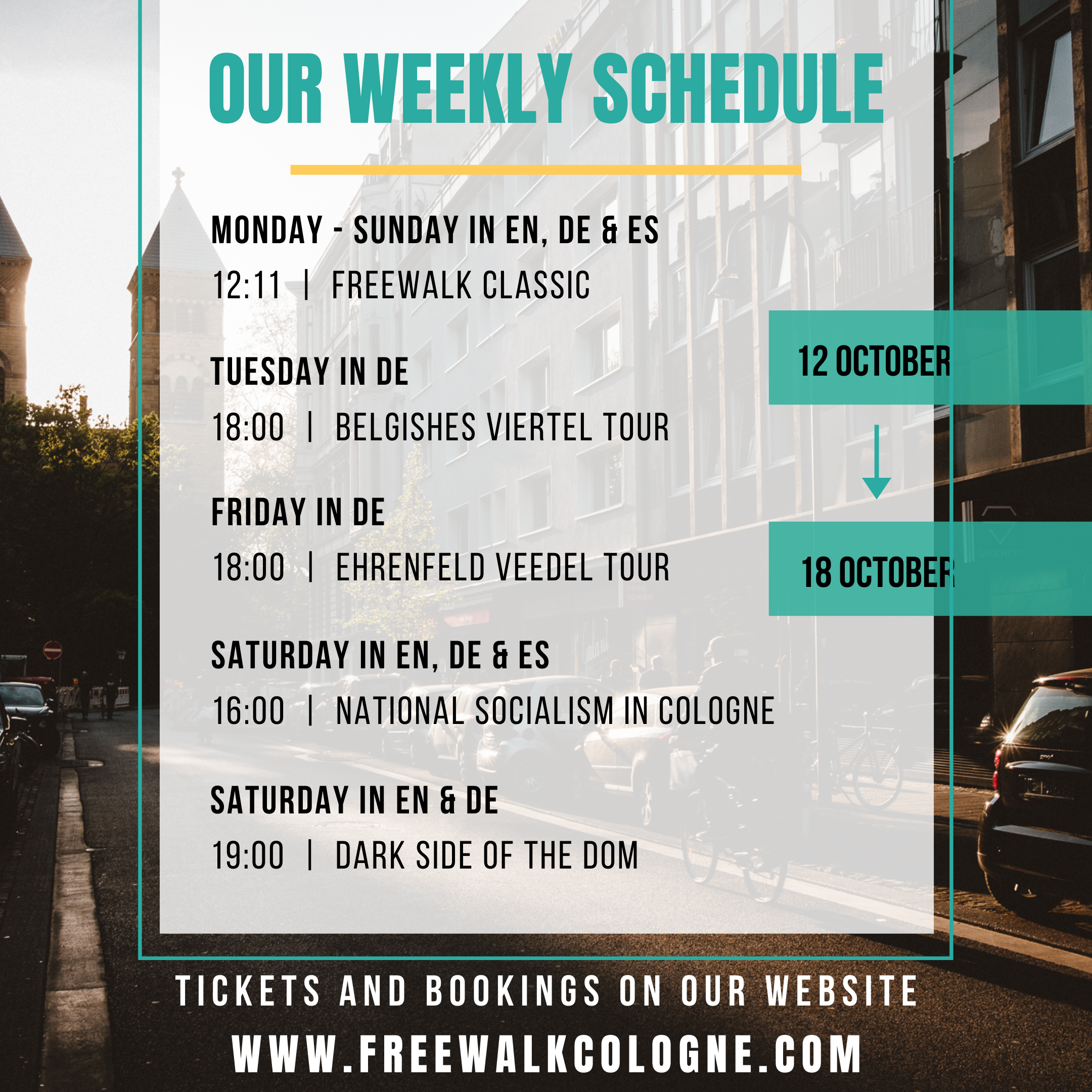 Weekly Tours Overview